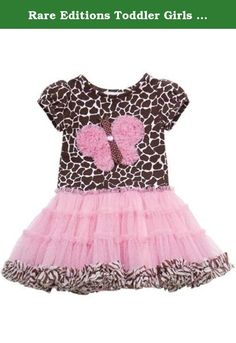Rare Editions Toddler Girls Giraffe Knit Butterfly Mesh Dress , Brown , 6 Months. Up for your consideration is this adorable dress from Rare Editions. The short sleeve, knit dress top features 'giraffe' prints throughout, adorable '3-D' butterfly applique (with mesh fabric, ribbon, & rhinestone details) at the center, pink mesh tutu skirt with zebra trim, extra lining underneath for a little more fullness, and single back closure. A terrific little dress for your little one to wear during...