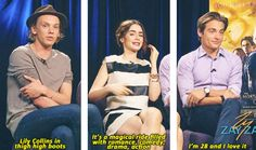 The Mortal Instrument's City of Bones' Jamie Campbell Bower, Lily Collins, and Kevin Zegers. They were asked to describe why you should see this movie.