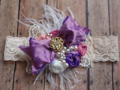 Purple and Pink Vintage Inspired Headband Baby by AldonasBoutique