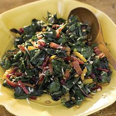 This easy sauté makes delicious use of the ingredients that go into pesto. Before you start, watch the Test Kitchen's video to geta few quick tips on trimming chard.