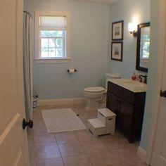 our blue brown 2nd bathroom