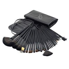 SC 32PCS Soft Smooth Hair Makeup Brushes Professional Makeup Brush Set Black *** Learn more by visiting the image link.