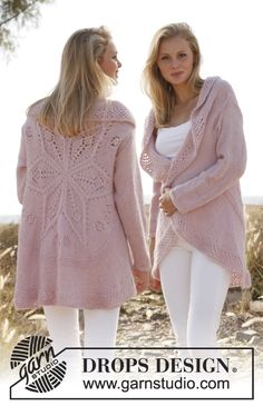 "Free Pattern - Knitted DROPS jacket worked in a circle with lace pattern in ""Alpaca"" and ""Kid-Silk"". Size: S - XXXL. ~ DROPS Design"