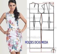 Resultado de imagem para moldes de vestidos em tecido modernas gratis