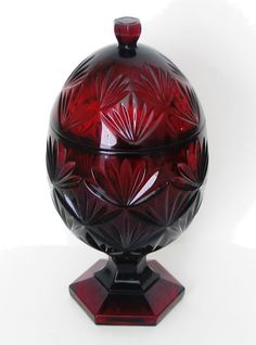 Ruby Pattern Glass EggShaped Candy Dish France by comfuzzled
