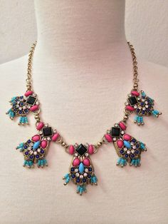 Pink & Turquoise Statement Necklace by BellaHarperBoutique on Etsy