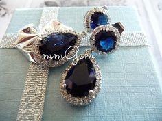Crystal earrings post dangle drop teardrop silver plated by mmgem