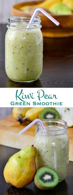 Light and refreshing, this Kiwi Pear Green Smoothie is a delicious way to eat more fruit! Only four ingredients stand between you and a great morning.