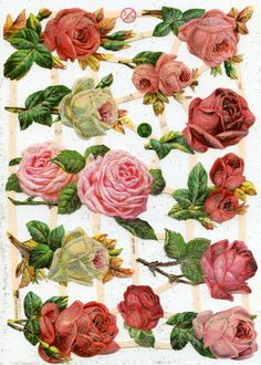 PINK & RED ROSES  Die Cut Reliefs by OneDayLongAgo on Etsy, $2.95