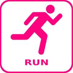 Pink Running Icon clip art