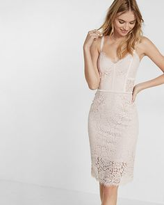 petite piped lace sheath dress from Express