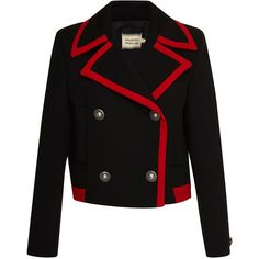 Fausto Puglisi Double Breasted Wool Jacket ($1,785) ❤ liked on Polyvore featuring outerwear, jackets, cropped jacket, double breasted jacket, woolen jacket, fausto puglisi and black jacket