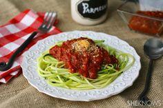 Zucchini spaghetti with easy marinara sauce