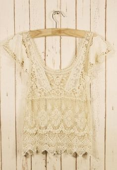 Retro Crochet Top - Retro White & Nude Collection - Tops - Retro, Indie and Unique Fashion - StyleSays