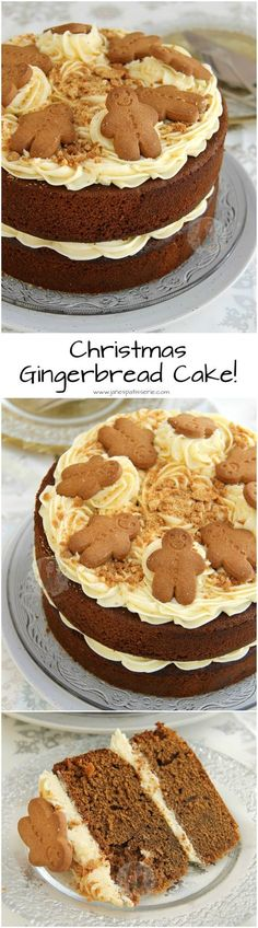 A Two-Layer Gingerbread Cake with Ginger Buttercream Frosting. the perfect Christmas cake for the Festive Season! (chocolate icing for cupcakes buttercream recipe) Xmas Food, Christmas Cooking, Christmas Desserts, Christmas Treats, Christmas Cakes, Xmas Cakes, Thanksgiving Snacks, Christmas Biscuits, Cupcakes