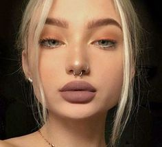 """71 Most Cute and Elegant Nostril Piercing Nose Septum Ring Design You May Try - Nose Septum Ring 18. ♥♡ #piercing ♥♡ #nostril ♥♡ #nosepiercing ♥♡ #septumrings ♥♡ #nosering ♥♡ (❁´◡`❁) """"You only live once, but if you do it right, once is enough, and you won't regret. ❀""""♥♡"""