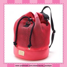 """Juicy Couture Pink Mesh Sling Gym Bag HPNWT Juicy Couture hot pink/black mesh cut-out design sling bag will be ideal for the gym or traveling to work!   *15""""H x 10.75""""W x 10.75D, approx. drop down length 12"""", Polyester *Exterior: bottom zip compartment, Interior: zip pocket *Removable handle/strap & convertible straps, drawstring closures *Bundle Discounts, Smoke-Free, No Trades Juicy Couture Bags"""