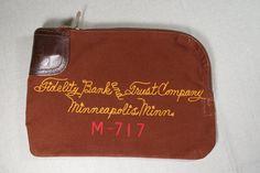 Vintage Canvas Locking Zipper Bank Deposit Bag Minneapolis Fidelity & Trust Co