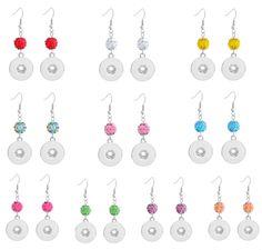 20pairs/lot Mix 10Colors Women Shamballa Earrings Rhinestone Metal Diy 18mm Snap Button Earrings Interchangeable Snap Jewelry