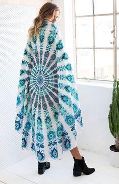 Round Poncho Bikini Cover Bohemian Indian Elephant Mandala Beach Wear Cotton Top