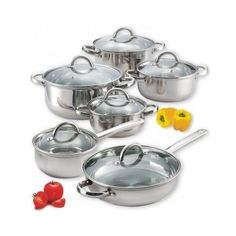 12 Piece Stainless Steel Cookware Glass Lids Pots and Pans #CookNHome