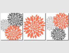 Orange Gray Wall Art Home Decor Flower Burst, Floral, Bathroom, Living Room, Bedroom, Spa, Kitchen, Peony, Set of 3 Prints or Canvas