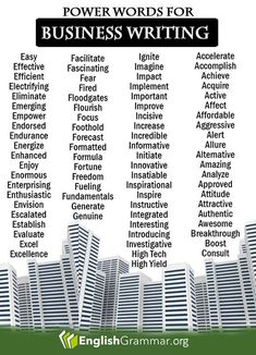 English Grammar - 50 power words for business writing More business writing tips here: www. Essay Writing Skills, English Writing Skills, Book Writing Tips, Writing Words, Business Writing Skills, Good Vocabulary, English Vocabulary Words, Learn English Words, The Words