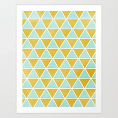 TRIANGLES - YELLOW AND MINT Art Print by Allyson Johnson - $20.00 #society6 #art #decor #graphicart