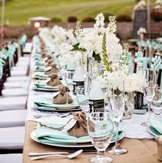 What a beautiful table! I love the sky blue mixed with brown for an outdoor reception.