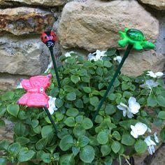 3 Ceramic Garden StakesButterfly Turtle by PondScumCeramics