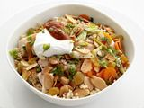 Spiced Couscous and Chicken with raisins, almonds & yogurt. Just made ...
