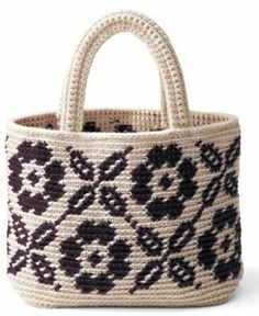 Cartera Tunisian Crochet, Filet Crochet, Knit Crochet, Crochet Flower, Tapestry Bag, Tapestry Crochet, Crochet Handbags, Crochet Purses, Crochet Bags