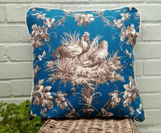 Blue French Hen Cushion with white piping edge, now sold