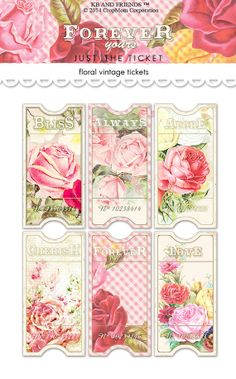 Digital vintage floral tickets / shabby chic / by KBandFriends.