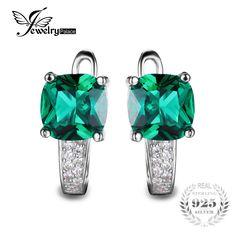 Jewelrypalaceクッション3.1ct作成緑色ロシアナノエメラルドクリップオンフープイヤリング925スターリングシルバー見事なユニークなデザイン
