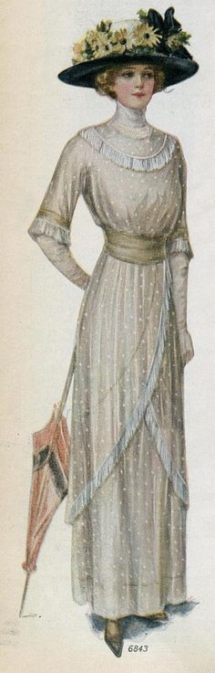 DOTTED SWISS DRESS WITH DIAGONALLY DRAPED FLOUNCED SKIRT, Ladies Home Journal, 1912