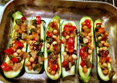 Calabacines rellenos con verduras