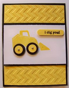 handmade card ... yellow and with with black accents ... luv the chevron embossing folder design on the background ... earth mover ... great for men or boys ... Stampin' Up!