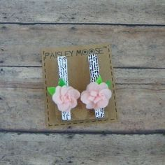Light Pink Felt Flower with French Script on Wooden Clip Refrigerator Magnets Set of 2 by PaisleyMoose on Etsy