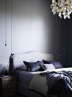 greige: interior design ideas and inspiration for the transitional home : Dark grey walls Gray Bedroom, Home Bedroom, Bedroom Decor, Master Bedroom, Feminine Bedroom, Calm Bedroom, Bedroom Ideas, Pretty Bedroom, Design Bedroom