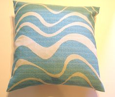 "Handmade Turquiose Blue Ocean wave Pillow Cover - 20"" x 20"" - Summertime, Beach, Cottage, July Inspired, Home decor, Designer"