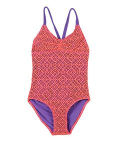adc2314571 This Coral Lace One-Piece - Girls by Beach Rays is perfect!  zulilyfinds