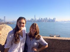 Visiting the statue of liberty with my sister.