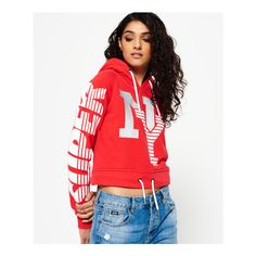 Superdry Downtown NY Hoodie ($55) ❤ liked on Polyvore featuring tops, hoodies, red, red hooded sweatshirt, sweatshirt hoodies, red hoodie, sports crop tops and cropped hooded sweatshirt