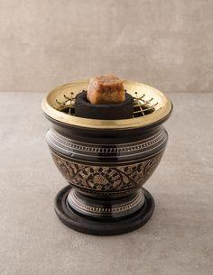 Carved Brass Charcoal Resin Burner