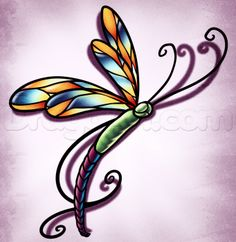 how to draw a dragonfly tattoo