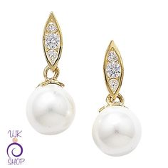 9ct Gold Pearls and CZ Earrings £44