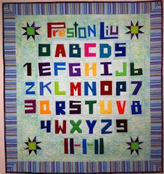 We all have to start somewhere...: Fabulous alphabet sampler baby quilt made with UnRuly Letters. woohoo!