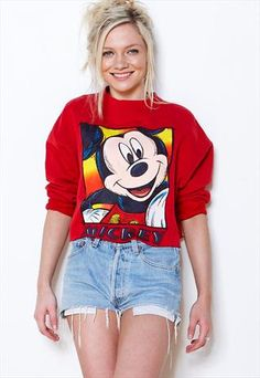 Vintage 80's Red Cropped Mickey Mouse Disney Jumper Sweater