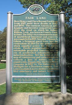 Historical marker at Henry Ford's Fair Lane Estate in Dearborn, Michigan